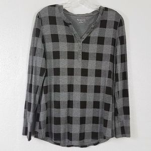 Relativity Plaid Henley Style Shirt